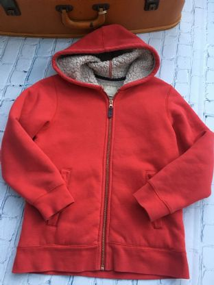 Mini Boden red sherpa lined zip up hoodie